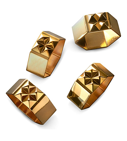 WATERFORD Set of four Rebel metal stud napkin rings