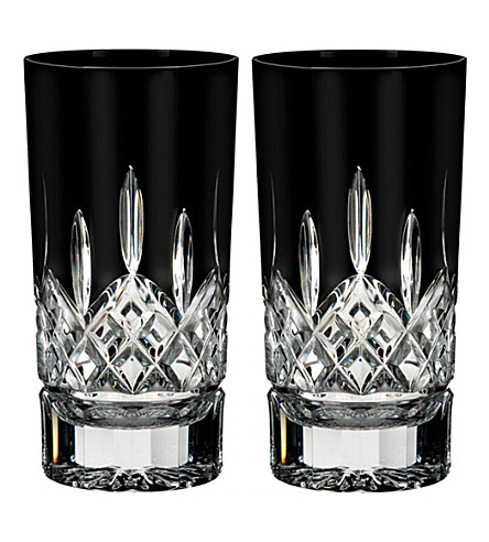 WATERFORD Lismore Black hi ball tumblers (set of 2)