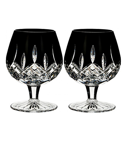 WATERFORD Lismore Black brandy glasses (set of 2)
