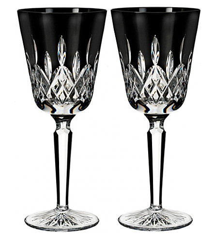 WATERFORD Lismore Black tall goblets (set of 2)