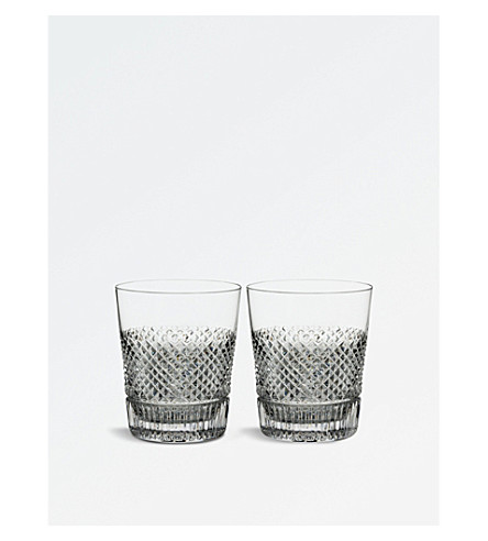 WATERFORD Diamond Line Double Old Fashioned crystal glasses 290ml set of two