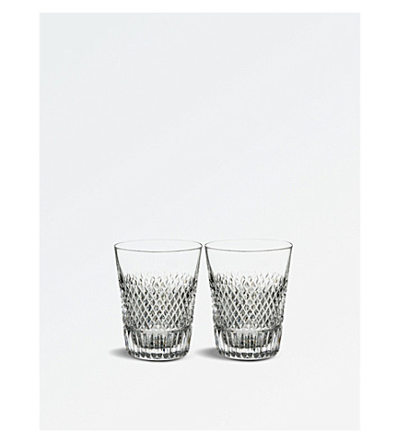 WATERFORD Diamond Line crystal shot glasses set of two