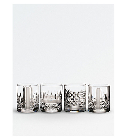 WATERFORD Set of four Lismore Short Stories Revolution crystal tumblers