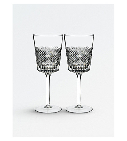 WATERFORD Set of two Diamond Line crystal wine glasses