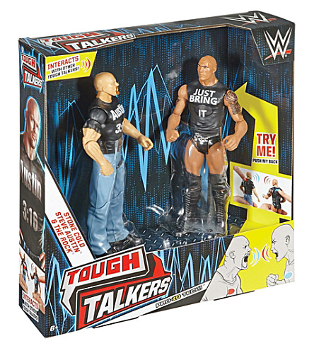 WWE Tough Talkers The Rock and Steve Austin action figure pair