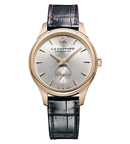 CHOPARD 121968-5001 L.U.C XPS 18ct rose-gold, silver and leather watch
