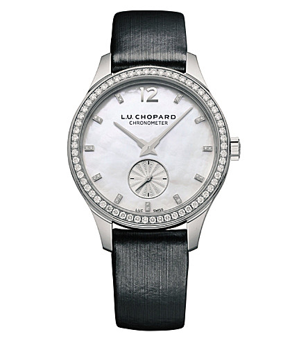 CHOPARD 131968-1001 L.U.C XPS 18ct white-gold, mother-of-pearl, diamond and leather watch