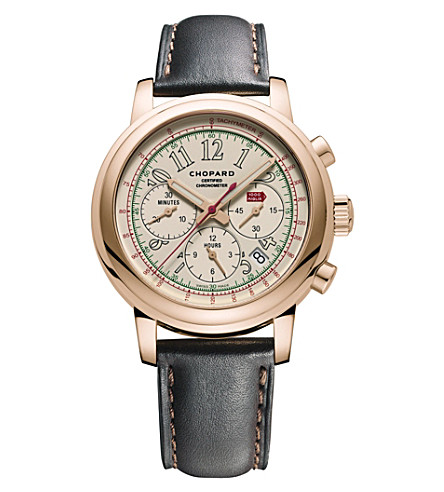 CHOPARD 161274-5006 Mille Miglia 18ct rose-gold and leather limited edition race watch