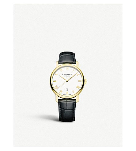 CHOPARD 161278-0001 Classic 18ct yellow-gold and leather watch