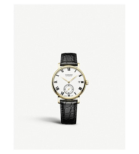 CHOPARD Classic Manufacture 18ct yellow-gold and alligator-leather watch