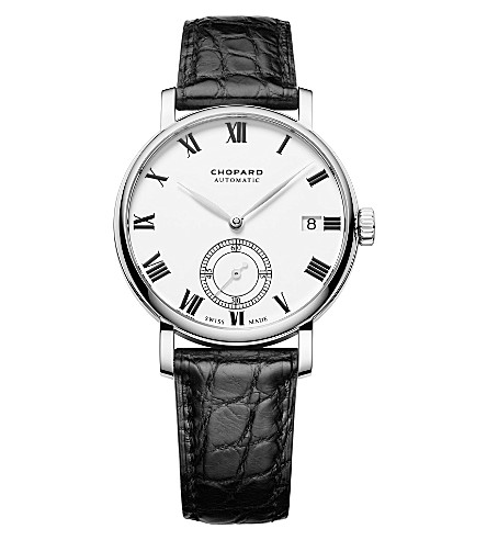 CHOPARD Classic Manufacture 18ct white-gold and alligator-leather watch