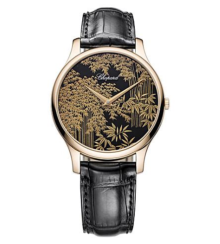 CHOPARD L.U.C XP Urushi 18ct rose-gold and leather watch