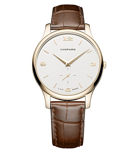 CHOPARD L.U.C XP 18ct rose-gold and alligator-leather watch