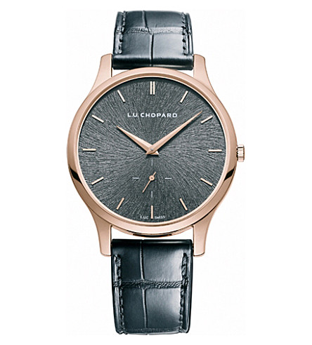 CHOPARD L.U.C XPS Fairmined rose gold and alligator leather watch