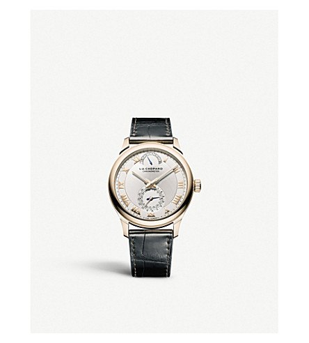 CHOPARD 161926-5001 L.U.C Quattro 18ct rose-gold, silver and leather watch