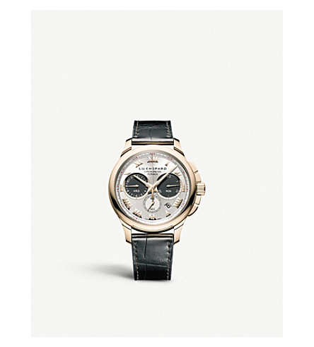 CHOPARD 161928-1001 L.U.C Chrono One 18ct rose-gold and leather watch