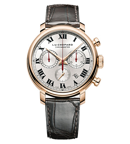 CHOPARD 161964-5001 L.U.C 1963 Chronograph 18ct rose-gold, silver and leather watch