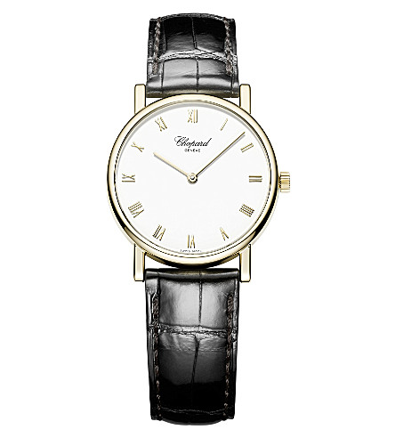 CHOPARD Classic 18ct yellow-gold and alligator-leather watch