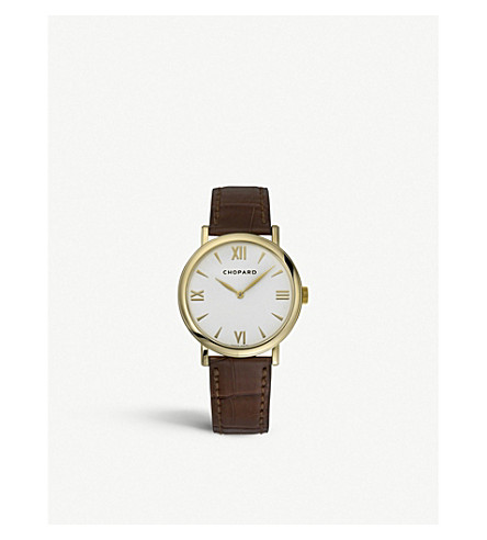 CHOPARD Classic 18ct yellow-gold and leather watch