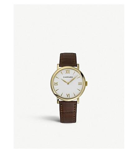 CHOPARD 经典18ct 黄金色和真皮手表