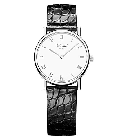 CHOPARD Classic 18ct white-gold and alligator-leather watch
