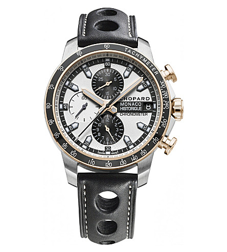 CHOPARD Grand Prix de Monaco Historique 18ct rose-gold, titanium and leather chronograph watch