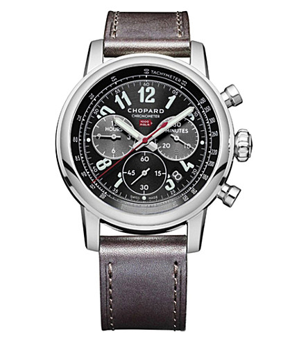 CHOPARD Mille Miglia leather and stainless steel watch