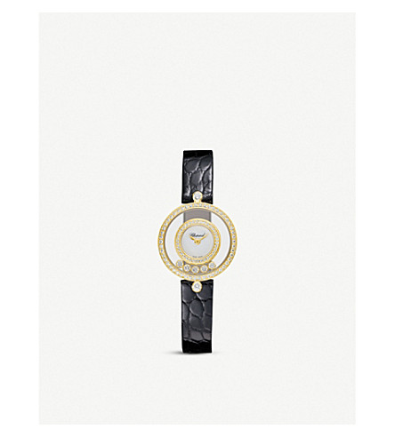 CHOPARD Happy Diamonds Icons 18ct yellow-gold, diamond and alligator-leather watch
