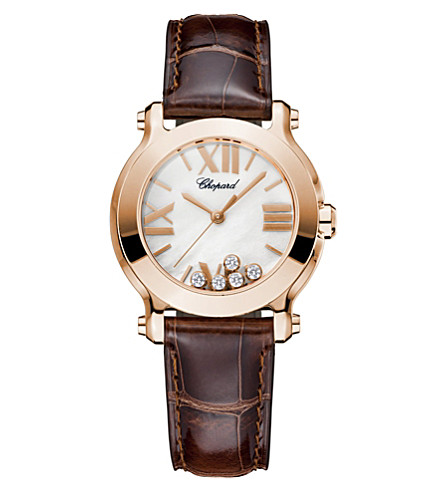 CHOPARD Happy Sport Mini 18ct rose-gold, diamond and alligator-leather watch