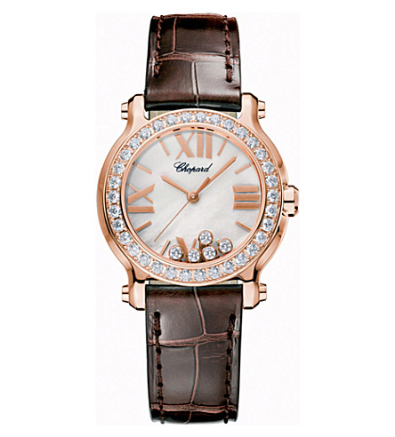 CHOPARD 274189-5005 Happy Sport Mini 18ct rose-gold, alligator-leather and diamond watch