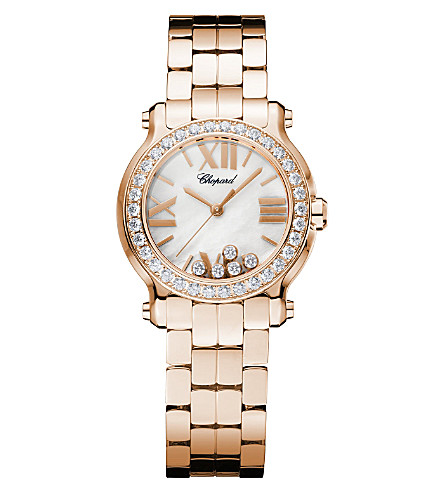 CHOPARD Happy Sport Mini 18ct rose-gold and diamond watch