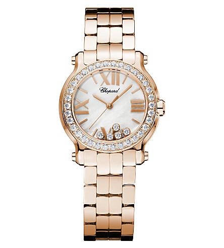 CHOPARD Happy Sport Mini 18ct rose-gold and diamond watch