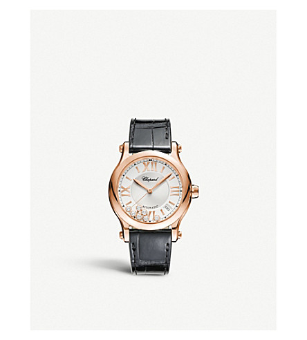 CHOPARD Happy Sport Medium Automatic 18ct rose-gold diamond and alligator-leather watch