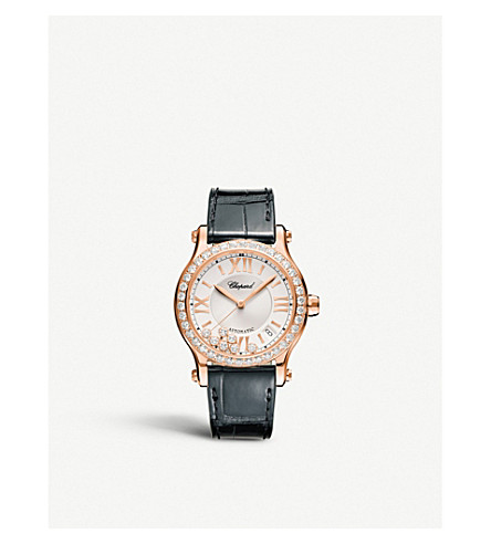 CHOPARD 274808-5003 Happy Sport 18ct rose-gold and diamond watch