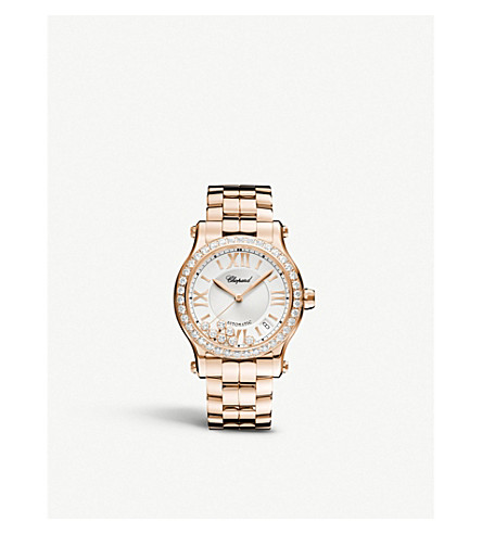 CHOPARD Happy Sport Medium rose-gold and diamond watch
