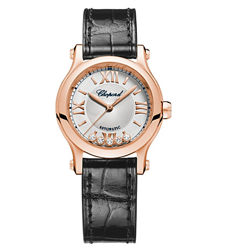 CHOPARD Happy Sport 18ct rose-gold, diamond and leather watch