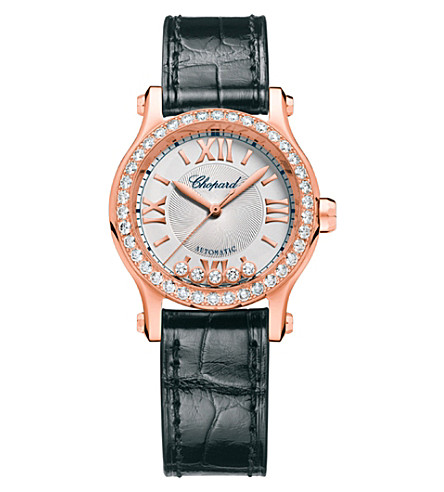 CHOPARD Happy Sport 30mm Automatic rose gold and diamond watch