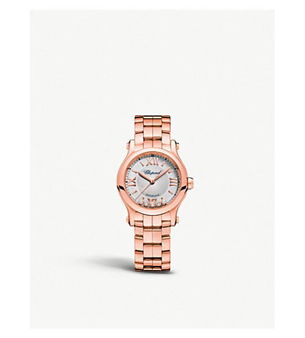 CHOPARD 274893-5003 Happy sport 18ct rose-gold and diamond watch