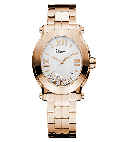 CHOPARD Happy Sport Oval 18ct rose-gold and diamond watch