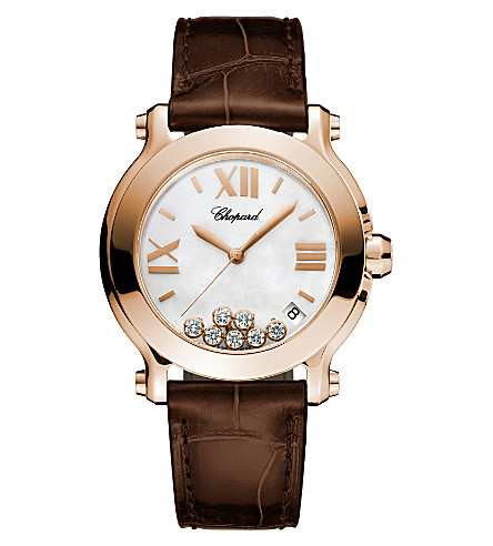 CHOPARD Happy Sport Medium 18ct rose-gold, diamond and alligator-leather watch