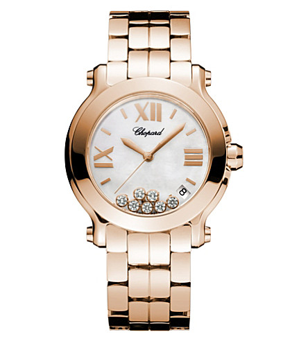 CHOPARD Happy Sport Medium 18ct rose-gold and diamond watch