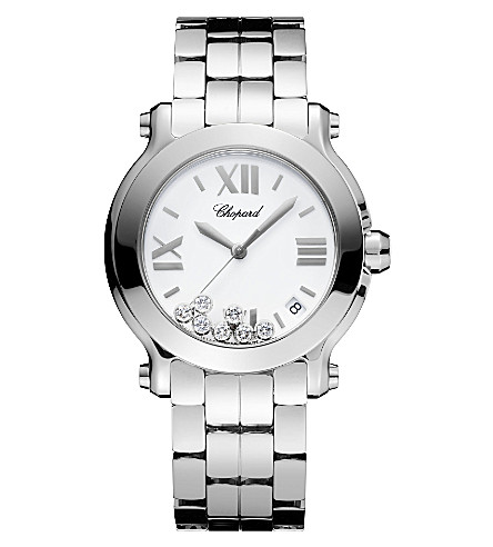 CHOPARD Happy Sport Medium stainless steel and diamond watch