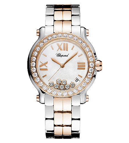 CHOPARD Happy Sport Medium 18ct rose-gold, stainless steel and diamond watch