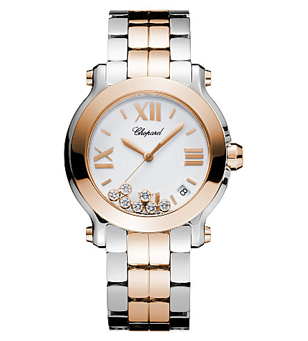 CHOPARD Happy Sport 18ct rose-gold, stainless steel and diamond watch