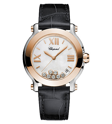 CHOPARD Happy Sport 18ct rose-gold, stainless steel, diamond and alligator-leather watch