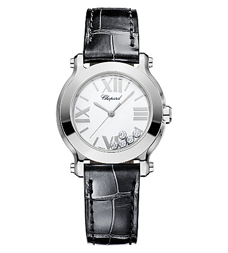 CHOPARD Happy Sport Mini New Generation stainless steet, diamond and alligator-leather watch