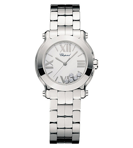 CHOPARD 278509-3002 Happy sport stainless steel and diamond watch