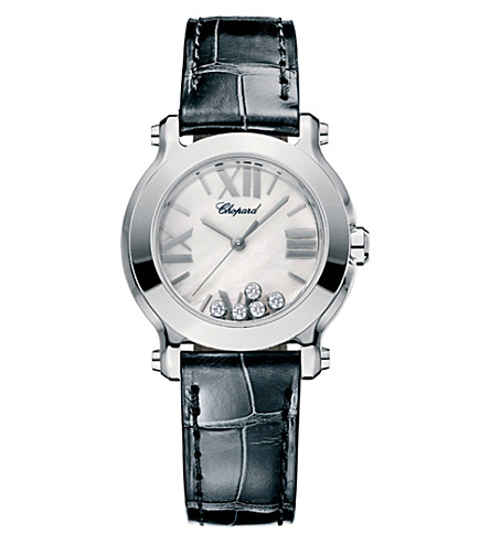 CHOPARD Happy Sport Mini stainless steel and alligator leather watch