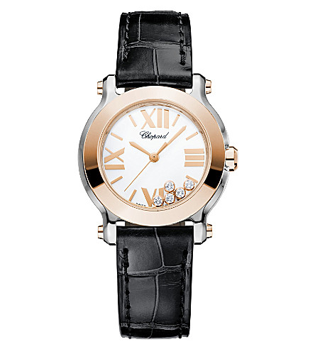 CHOPARD Happy Sport Mini 18ct rose-gold, stainless steel, diamond and alligator-leather watch