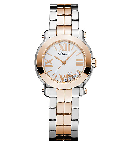 CHOPARD Happy Sport Mini 18ct rose-gold, stainless steel and diamond watch